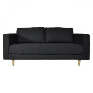 Calvin 2.5 Seater Faux Leather Sofa, Onyx Grey