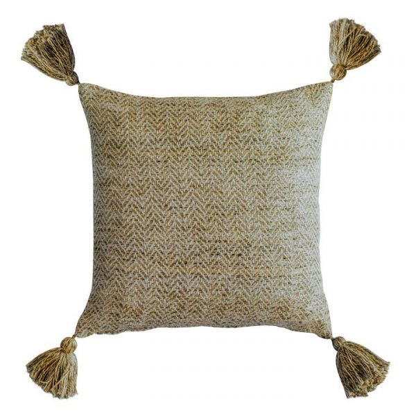 Cameo Herringbone Feather Filled Scatter Cushion, Ochre