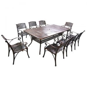 Carly 9 Piece Cast Aluminium Outdoor Dining Table Set, 216cm