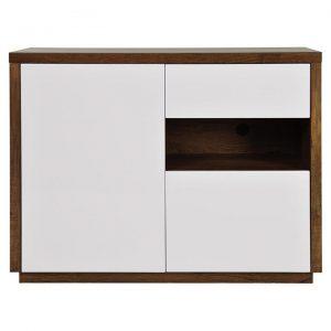 Charlene 1 Door 2 Drawer Sideboard, 120cm, Antique Oak / High Gloss White