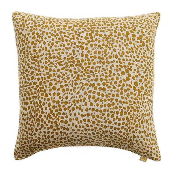 Cheetah Print Cotton Scatter Cushion, Mustard