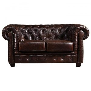 Chesterfield Hand Rubbed Leather 2 Seater Sofa, Antique Brown