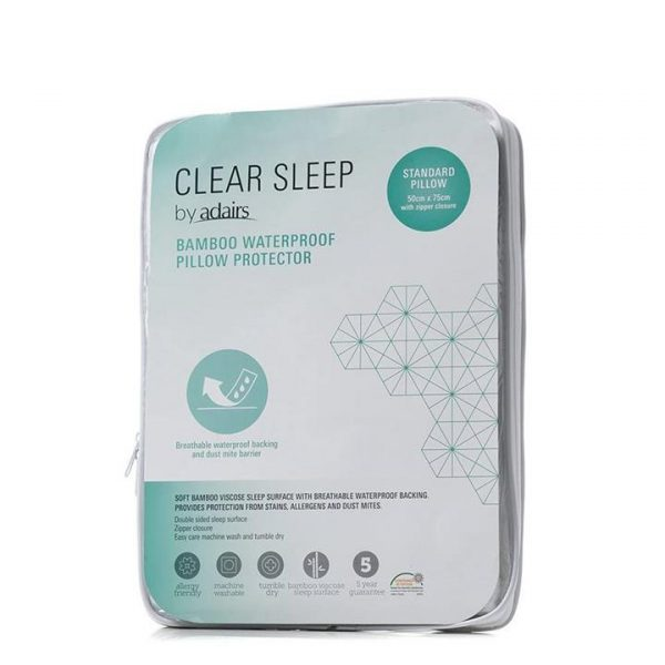 Clear Sleep Bamboo Jersey Waterproof Protector Standard Pillow - White By Adairs