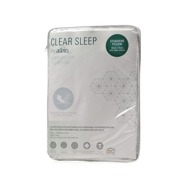 Clear Sleep Basic Waterproof Pillow Protector - White By Adairs