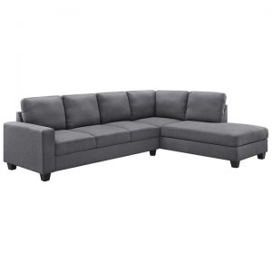 Collins Fabric Corner Sofa, 3 Seater with RHF Chaise, Grey