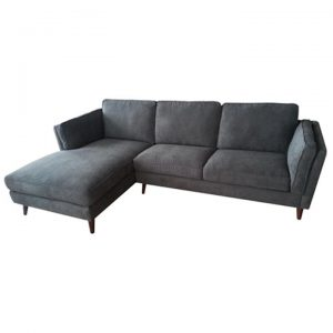 Copenhagen Fabric 2 Seater Sofa with Left Hand Facing Chaise - Charcoal