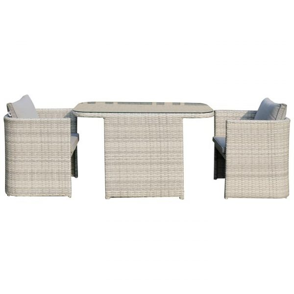 Coteau 3 Piece Wicker Outdoor Dining Set, 120cm