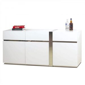 Crusty 3 Door 3 Drawer Buffet Table, 180cm, High Gloss White / Silver