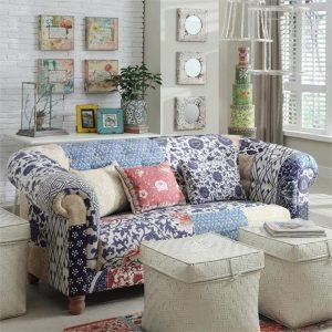 Designer Floral Canvas Patchwork 2 Seater Sofa