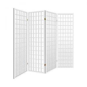 Dinan Room Divider, 4 Panel, White