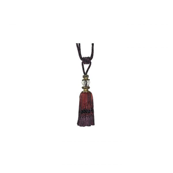 Faceted Glass Top Tassel Pair Curtain Tie-Back, Black/Red Wine