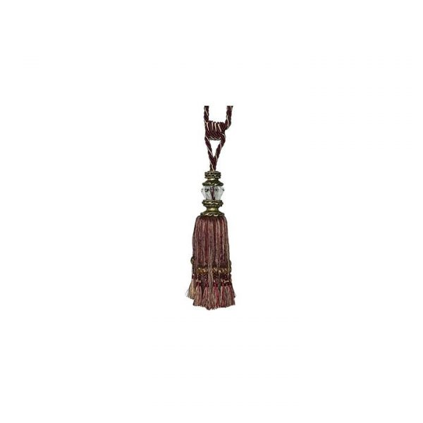 Faceted Glass Top Tassel Pair Curtain Tie-Back, Red Wine, 78cm