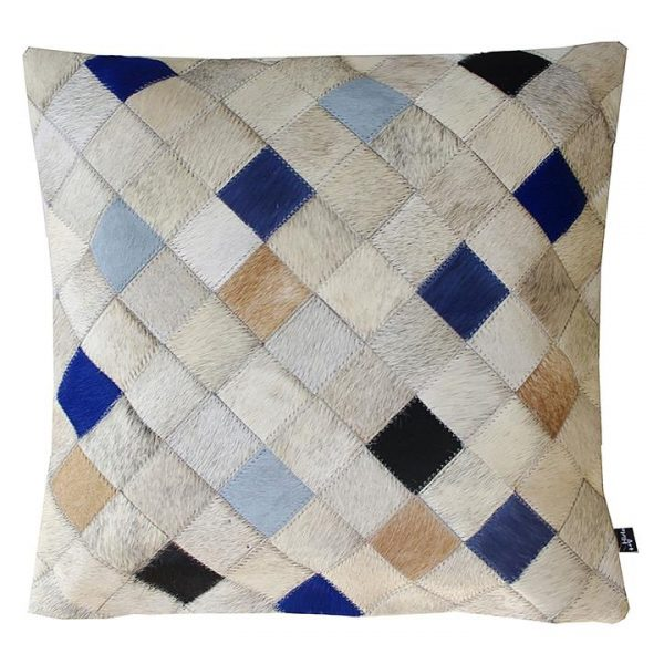 Falling Squares Hide Cushion, Blue