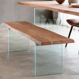 Ferdo Acacia Timber & Glass Dining Bench, 180cm