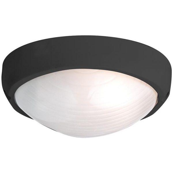 Fiore IP54 Oval Outdoor Plain Bunker Light, Black
