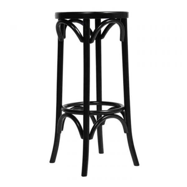 Florence Polish Made Commercial Grade Beech Timber Bar Stool, Black
