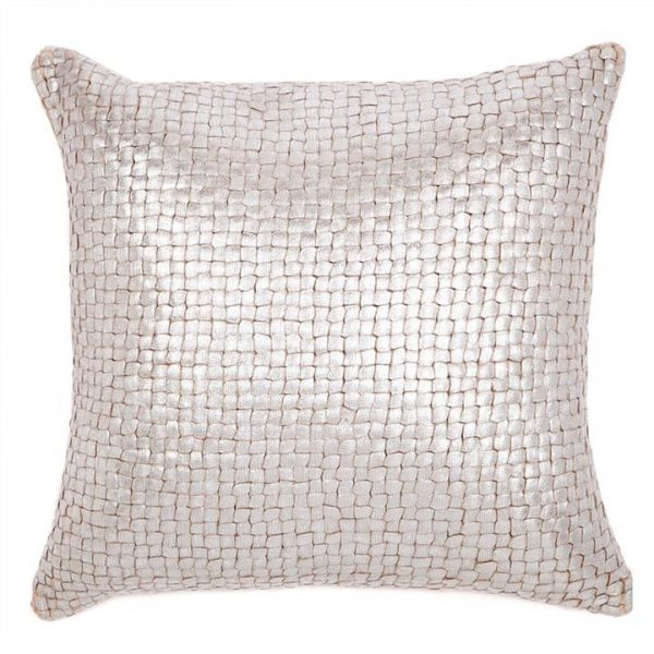 Freya Cable Knit Silver Foiled Cotton Scatter Cushion