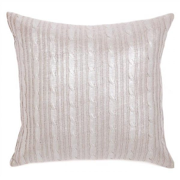 Freya Plaited Silver Foiled Cotton Scatter Cushion