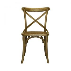 Genes Elm Timber Cross Back Dining Chair, Antique Oak