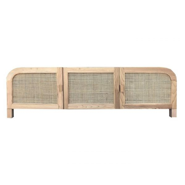 Grace Solid Sungkai Wood & Rattan 3 Door Sideboard/TV Unit, 180cm, Natural