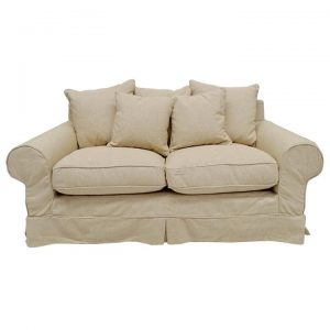 Hampton Linen Fabric Slipcover Sofa, 2.5 Seater, Oatmeal
