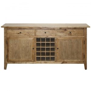 Holman Oak Timber 2 Door 3 Drawer Buffet Table with Wine Rack, 180cm, Antique Oak