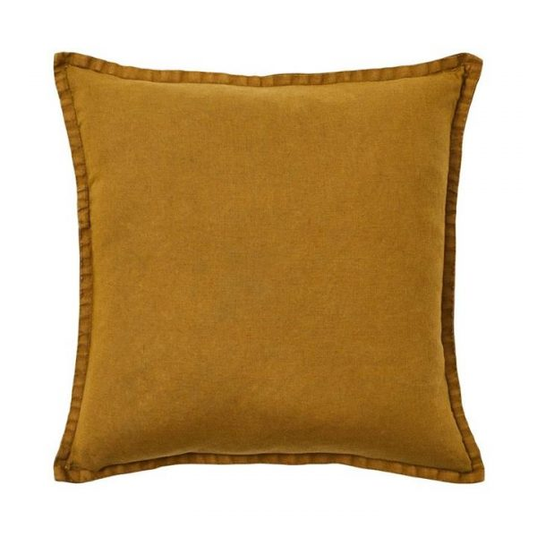 Home Republic Belgian Vintage Washed Linen Cushion Chartreuse 50x50cm By Adairs