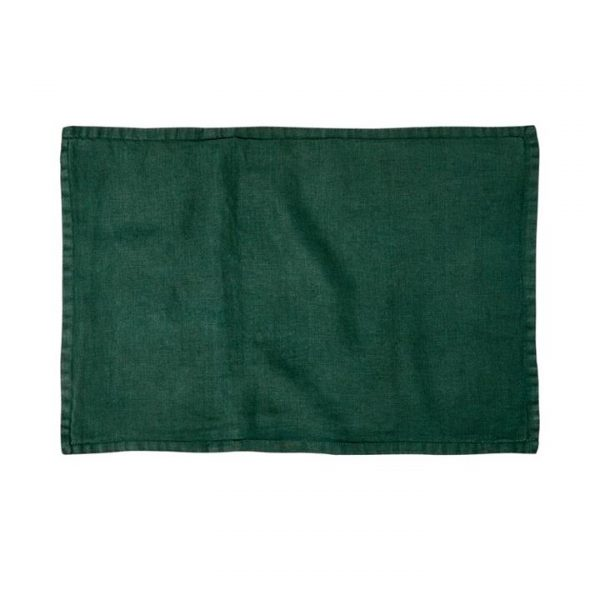 Home Republic Belgian Vintage Washed Linen Cushion Covers Deep Green 40x60cm - Deepgreen By Adairs