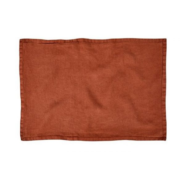 Home Republic Belgian Vintage Washed Linen Cushion Covers Rust 40x60cm By Adairs