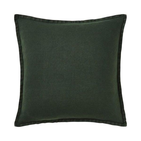 Home Republic Belgian Vintage Washed Linen Cushion Deep Green 50x50cm - Deepgreen By Adairs