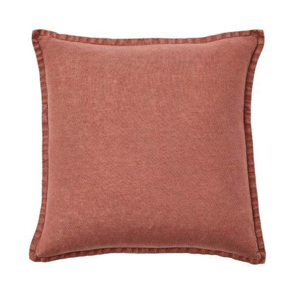 Home Republic Belgian Vintage Washed Linen Cushion Mahogany By Adairs