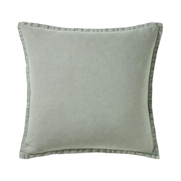 Home Republic Belgian Vintage Washed Linen Cushion Mineral Green 50x50cm - Mineralgre By Adairs