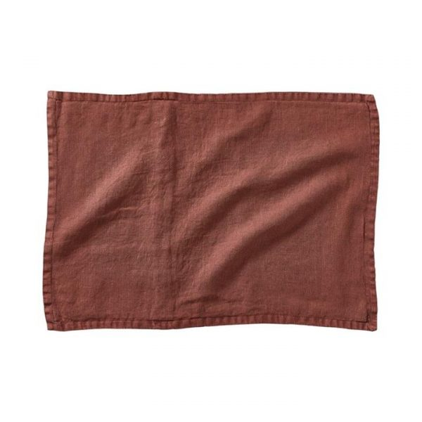 Home Republic *Covers only* Belgian Vintage Washed Linen Cushion Covers Mahogany By Adairs