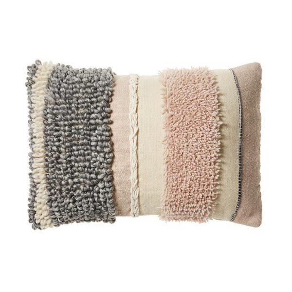 Home Republic Natalia Cushion Pink & Grey 40cm (W) x 60cm (L) - Pinkgrey By Adairs