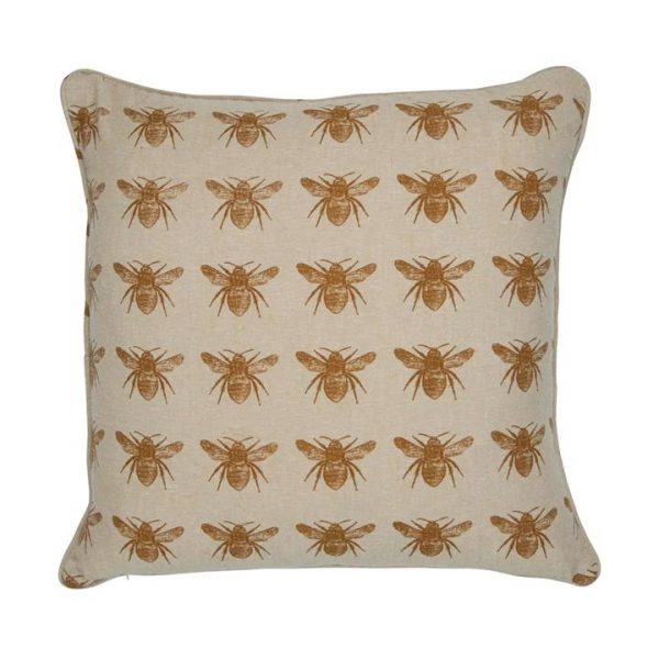 Honey Bee Fabric Scatter Cushion, Mustard / Beige-I