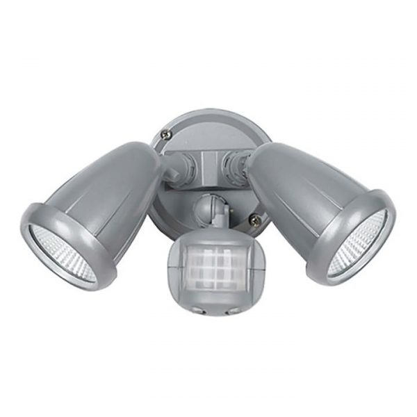 Illume IP44 Outdoor LED Floodlight, 2 Light with Motion Sensor, Silver