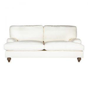 Jasmine Cotton Fabric Roll Arm Sofa, 2.5 Seater, Cream