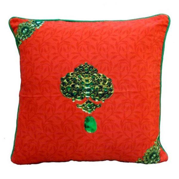 Jewels of India Orange Pure Silk Handmade Cushion Cover - 40x40cm