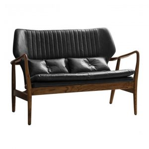 Kade Leather & Oak Timber 2 Seater Sofa, Charcoal