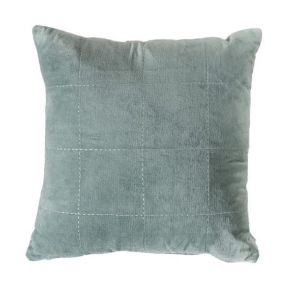 Kaden Stabstitch Cotton Velvet Scatter Cushion, Duck Egg Blue