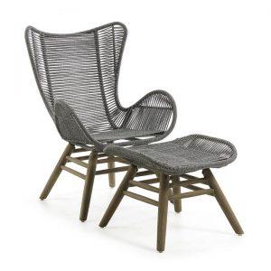 Kamden Rope & Eucalyptus Timber Indoor / Outdoor Lounge Chair with Foot Stool, Grey
