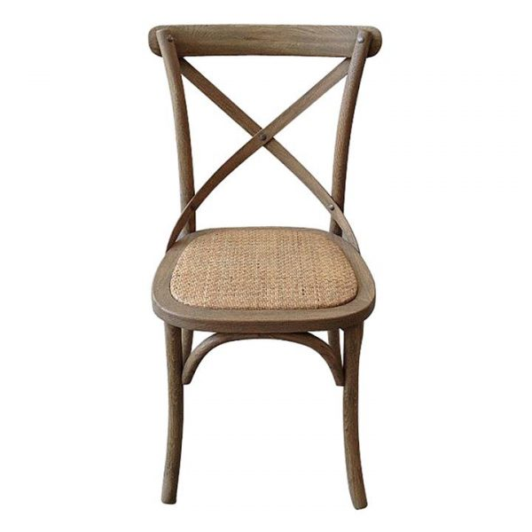 Kasan Oak Timber Cross Back Dining Chair with Rattan Seat, Weathered Oak