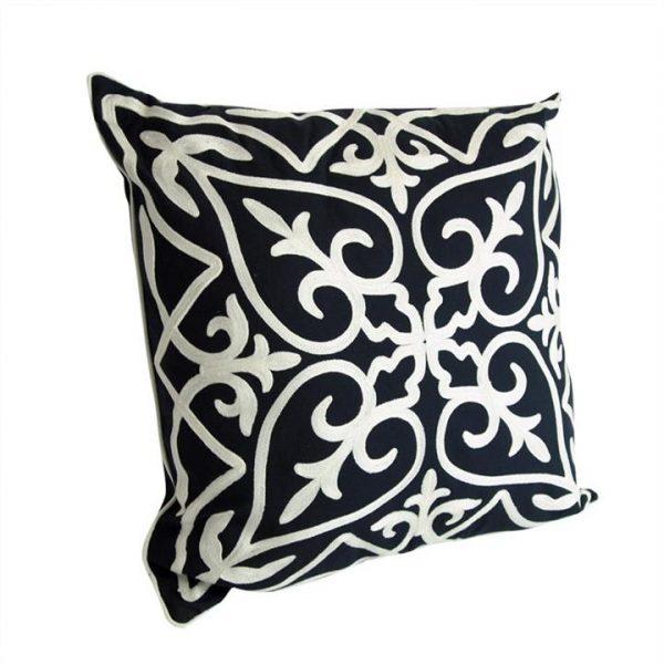 Kerman White on Black Cotton Cushion