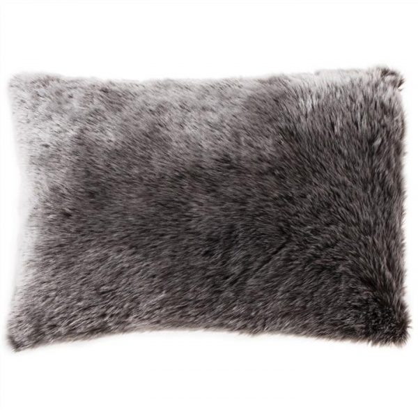 Kilburn & Scott Wolf Faux Fur Cushion, 40x60cm, Chocolate