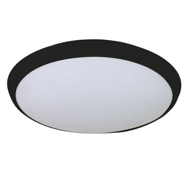 Kore IP54 Indoor / Outdoor Colour Changing LED Oyster Light, 30cm, Black