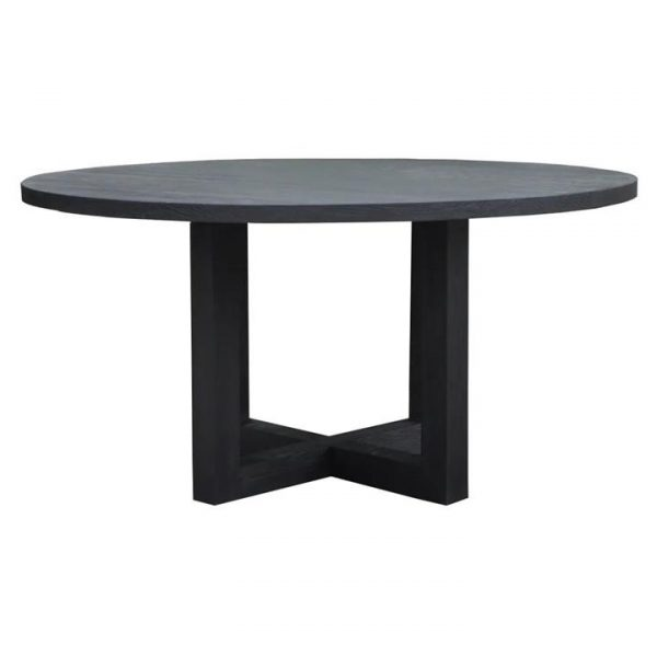 Leeton Ashwood Round Dining Table, 150cm, Black