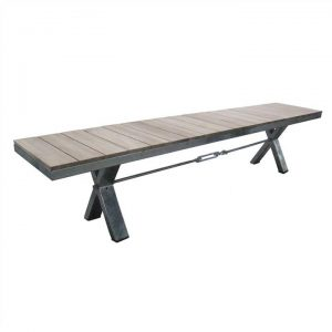 Lerryn Teak Timber & Metal Dining Bench, 220cm