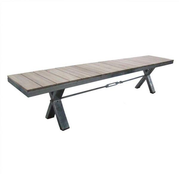 Lerryn Teak Timber & Metal Dining Bench, 220cm