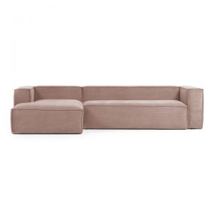 Lorton Corduroy Fabric Corner Sofa, 2 Seater with LHF Chaise, Blush