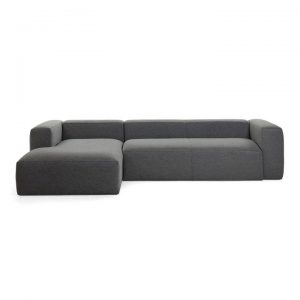 Lorton Fabric Corner Sofa, 2 Seater with LHF Chaise, Charcoal